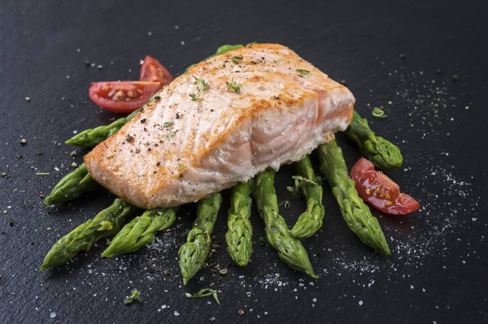 Harlan Kilstein Sublime Salmon With Chili Lime Sauce and Grill Asparagus