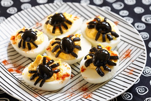 Harlan Kilstein's Completely Keto Creepy Crawly Spider Deviled Eggs