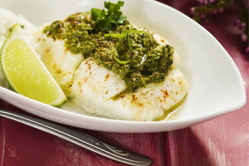 Photo of Harlan Kilstein's Completely Keto Herbed Mustard Cod With Cauliflower Rice