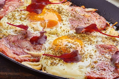 Photo of Harlan Kilstein's Completely Keto Skillet Salami & Grilled Onion Sunny Side Up Eggs
