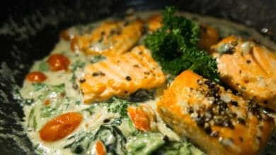 Photo of Harlan Kilstein's Completely Keto Mexican Seared Salmon In A Creamy Poblano Sauce