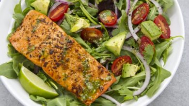 Photo of Harlan Kilstein's Completely Keto Chipotle Salmon Salad