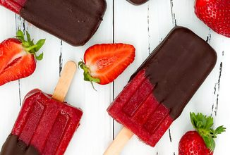 Photo of Harlan Kilstein's Completely Keto Chocolate Dipped Strawberry Rosé Popsicles