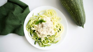 Photo of Harlan Kilstein's Completely Keto Creamy Cashew Sauce on Zoodles