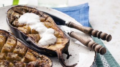 Photo of Harlan Kilstein's Completely Keto Grilled Eggplant with Yogurt Sauce