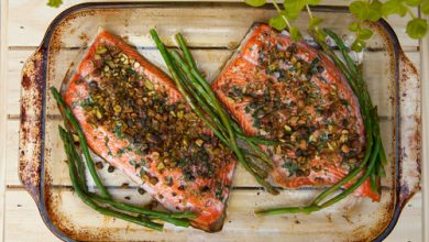 Photo of Harlan Kilstein's Completely Keto Lemon Pistachio Crusted Salmon