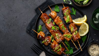 Photo of Harlan Kilstein's Completely Keto Teriyaki Salmon Skewers