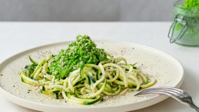 Photo of Harlan Kilstein's Completely Keto Parmesan Zoodles and Spinach Pesto