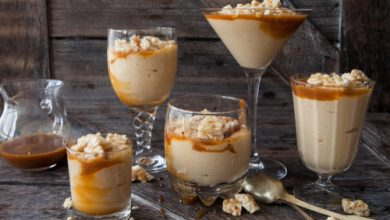 Photo of Harlan Kilstein's Completely Keto Caramel Mousse Topped with Peanut Brittle