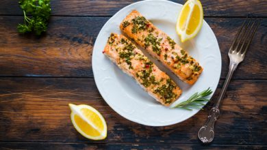 Photo of Harlan Kilstein's Completely Keto Lemon Butter and Greens Salmon