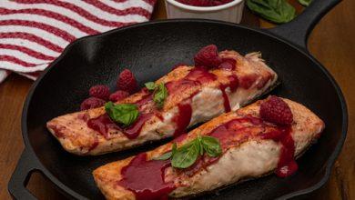 Photo of Harlan Kilstein's Completely Keto Dijon Raspberry Balsamic Salmon