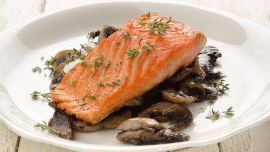 Photo of Harlan Kilstein's Completely Keto Marinated Salmon with Thyme and Cheesy Mushrooms